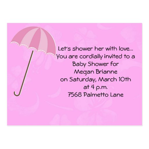 Pink Floral with Umbrella Baby Shower Invitation Postcards