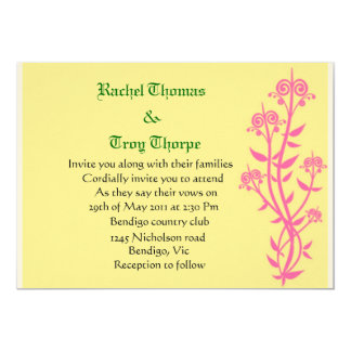 Pink floral with yellow background wedding invite