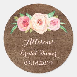 Pink Floral Wood Bridal Shower Favor Tag