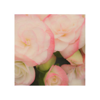 Pink Floral Wood Canvas
