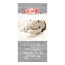 Pink Floral Wood Photo Baby Birth Announcement