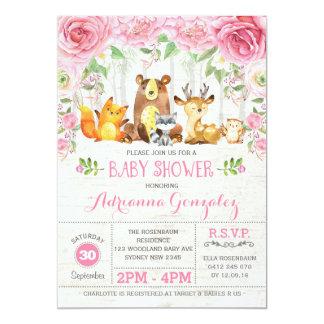 Pink Floral Woodland Animals Baby Shower Invite