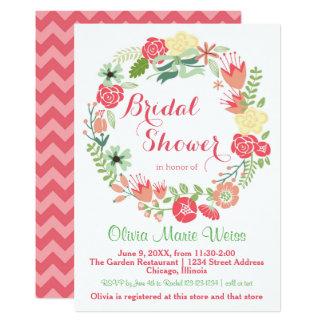 Pink Floral Wreath - Bridal Shower Invite