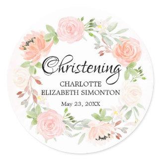 Pink Floral Wreath Christening Envelope Seal