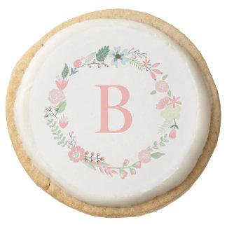 Pink Floral Wreath Custom Monogram Round Shortbread Cookie