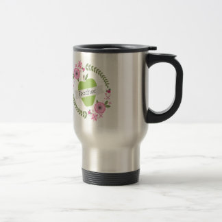 Pink Floral Wreath & Green Apple w Banner Teacher Travel Mug