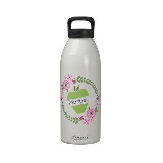 Pink Floral Wreath & Green Apple w Banner Teacher Drinking Bottles