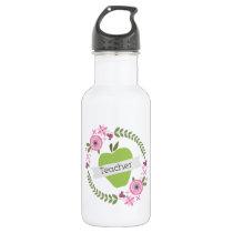 Pink Floral Wreath & Green Apple w Banner Teacher Water Bottle