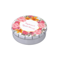 Pink Floral Wreath Jelly Belly Tin at Zazzle