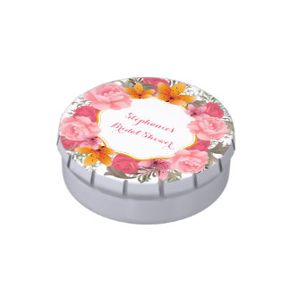 Pink Floral Wreath Jelly Belly Tin