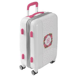 Pink Floral Wreath Monogrammed Ugo Luggage