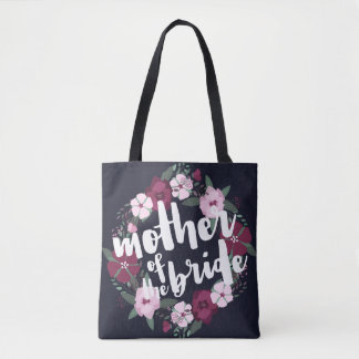 Pink Floral Wreath Navy Blue Mother of the Bride Tote Bag