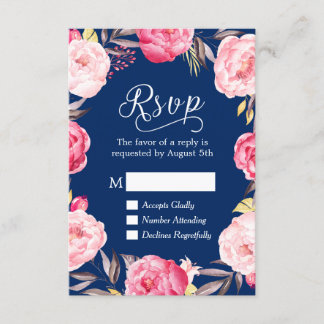 Pink Floral Wreath Navy Blue RSVP Reply