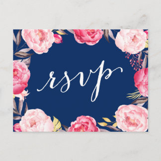 Pink Floral Wreath Navy Blue Wedding RSVP Reply Invitation Postcard