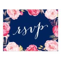 Pink Floral Wreath Navy Blue Wedding RSVP Reply Postcard