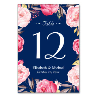 Pink Floral Wreath Navy Blue Wedding Table Number