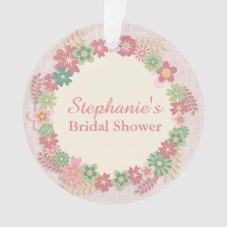 Pink Floral Wreath Ornament