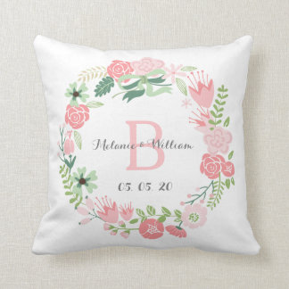 Pink Floral Wreath Personalized Wedding Pillow