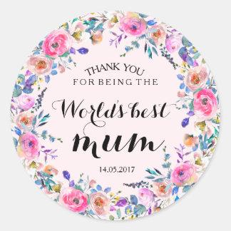 Pink Floral Wreath Wedding Sticker