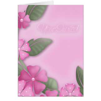 pink floral your invited card