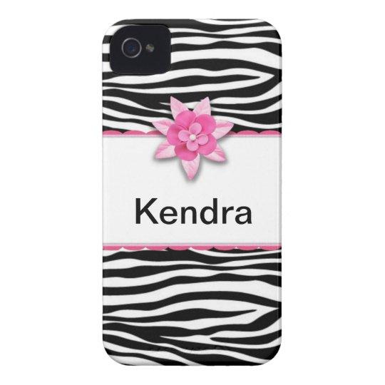 Pink floral zebra print Case-Mate iPhone 4 case