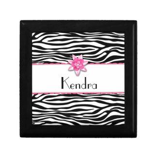 Pink floral zebra print gift box