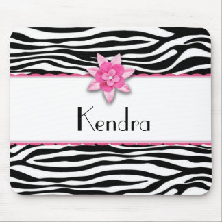 Pink floral zebra print mouse pads