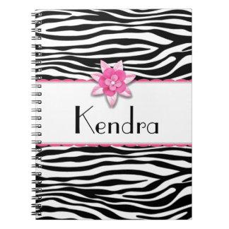 Pink floral zebra print spiral note books