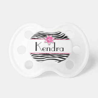 Pink floral zebra print pacifier