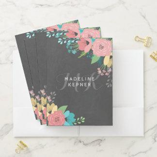 Pink Florals Chalkboard Monogram & Name Pocket Folder
