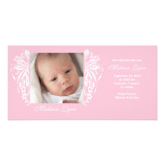 Pink Flourish New Baby Birth Annoucement Card