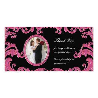 Pink Flourishes Photo Card