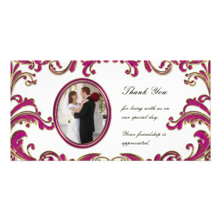Pink Flourishes Photo Card