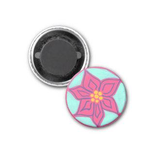 Pink Flower 1 Inch Round Magnet