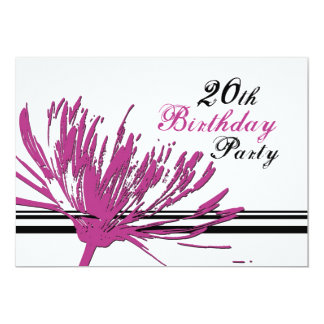 Pink Flower 20th Birthday Party Invitation Cards