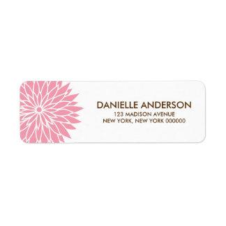 Pink Flower Address Return Labels