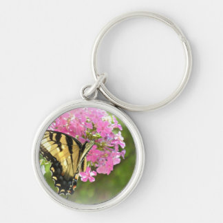 Pink Flower and Butterfly Silver-Colored Round Keychain