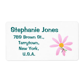 Pink Flower and Dragonfly-Sticky Label
