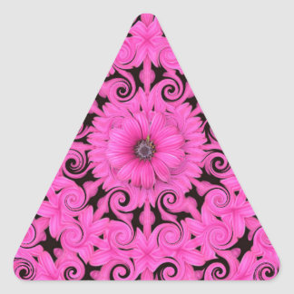 Pink Flower and Fractals Triangle Sticker