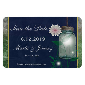 Pink flower and mason jar save the date magnet