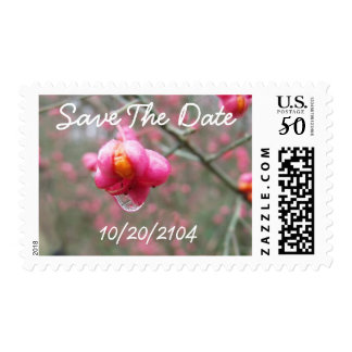 Pink Flower And Rain Drop Personalized Wedding Postage