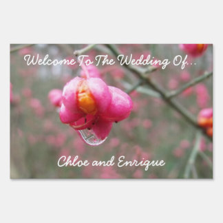 Pink Flower And Rain Drop Personalized Wedding Yard Sign