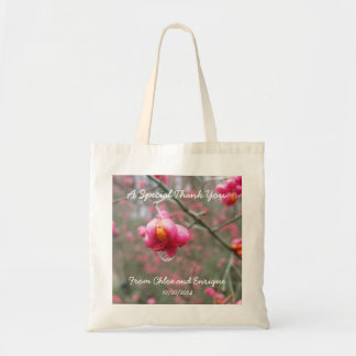 Pink Flower And Rain Drop Totes for Wedding Guests