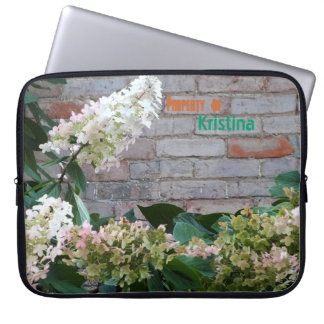 """Pink Flower and """"tagged"""" Wall Laptop Sleeve"""