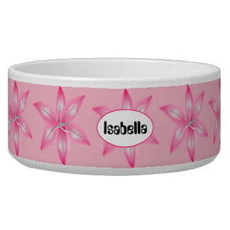 Pink Flower Any Name Dog Bowl
