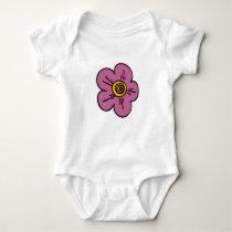 Pink Flower Baby Bodysuit