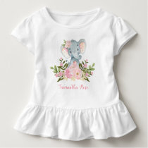Pink Flower Baby Elephant Birthday Toddler T-Shirt