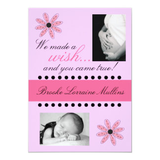 Pink flower baby girl announcement