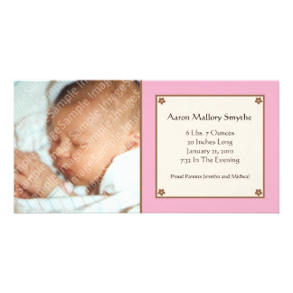 Pink Flower Baby Photo Card