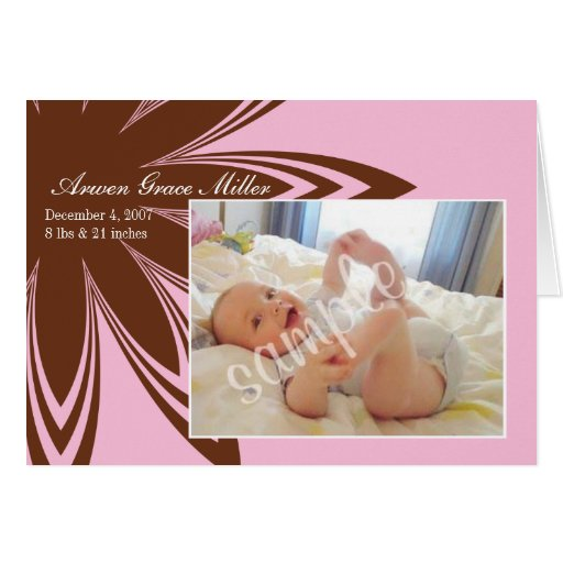 Pink Flower Birth Announcement Greeting Card